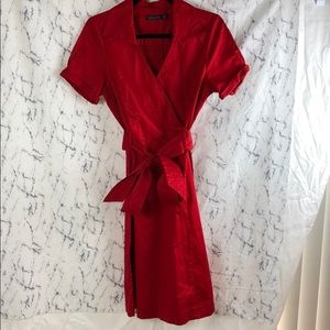 The Limited Red V Neck Tie Front Collared Dress